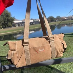 Fossil vintage tote fabric and leather handbag